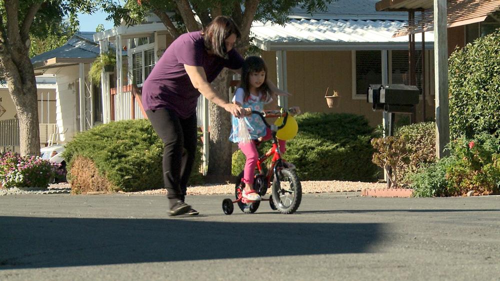 Grandchild bike riding