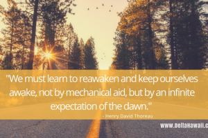 We must learn to reawaken and keep ourselves awake, not by mechanical aid, but by an infinite expectation of the dawn.-Henry David Thoreau